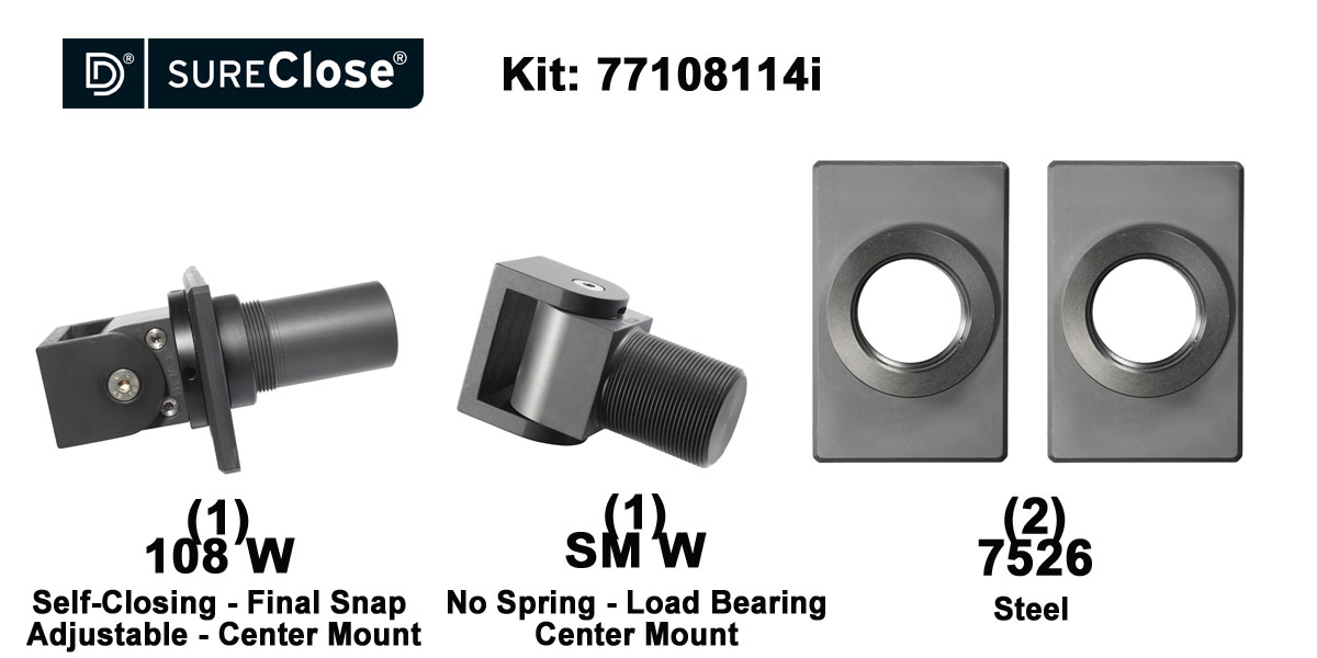 108 W/Self Closing -up to 180 lbs-Center Mount (Weld-On) Hinge Kit