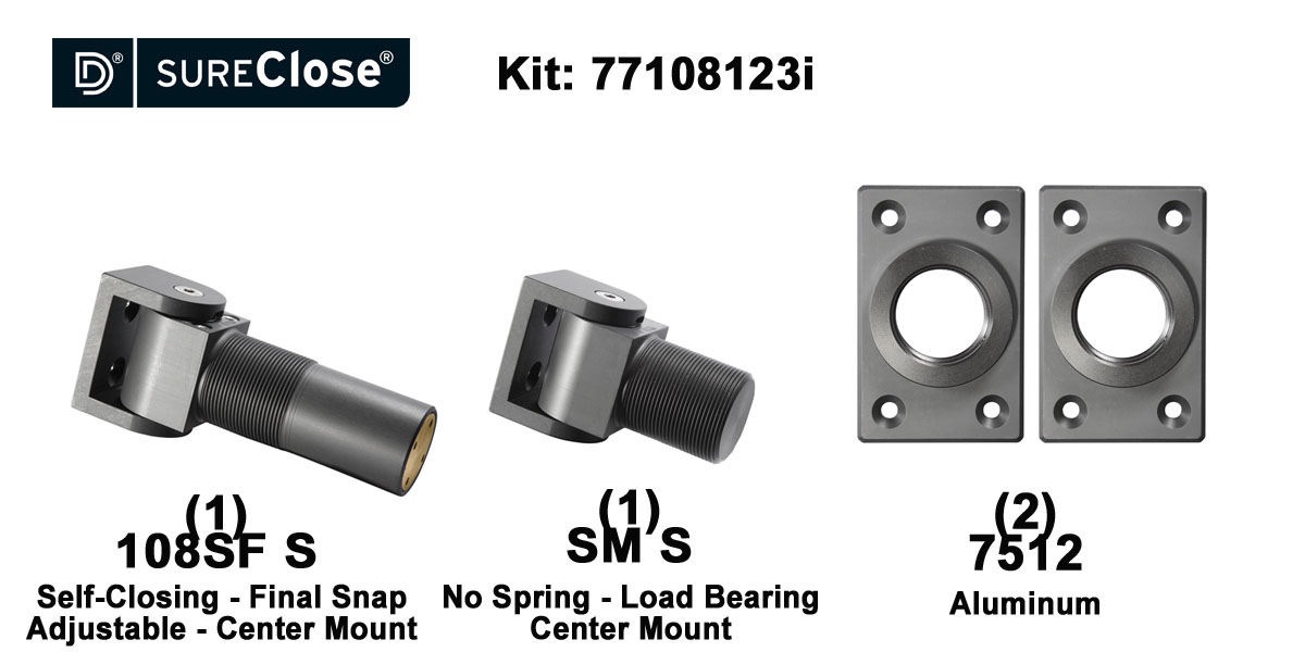 108SF S/Self Closing -up to 180 lbs-Center Mount (Screw-On) Hinge Kit for Pool Safety
