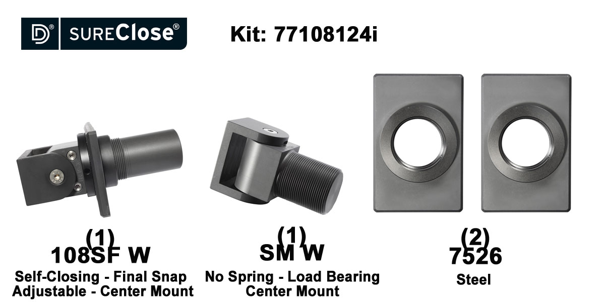 108SF W/Self Closing -up to 180 lbs-Center Mount (Weld-On) Hinge Kit for Pool Safety