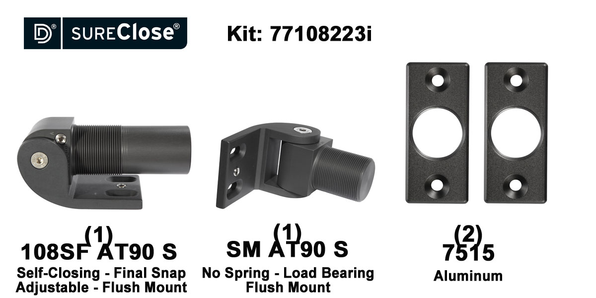 108SF AT90 S/Self Closing -up to 180 lbs-Flush Mount (Screw-On) Hinge Kit for Pool Safety