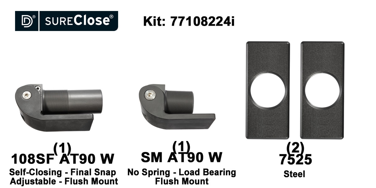 108SF AT90 W/Self Closing -up to 180 lbs-Flush Mount (Weld-On) Hinge Kit for Pool Safety