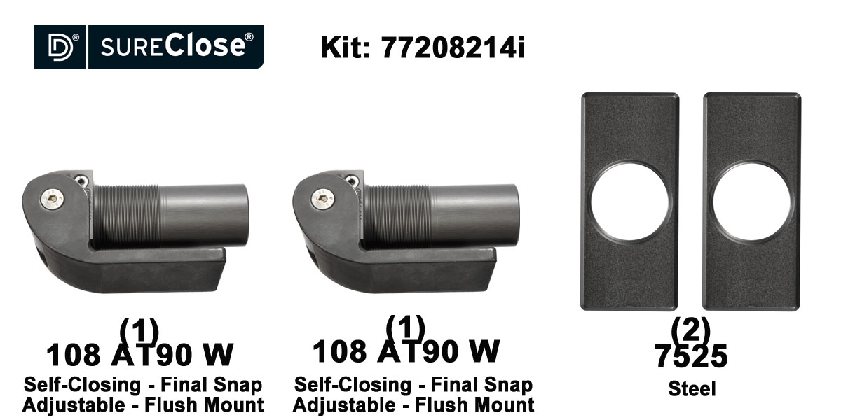 Double 108 AT90 W/Self Closing -up to 260 lbs-Flush Mount (Weld-On) Hinge Kit
