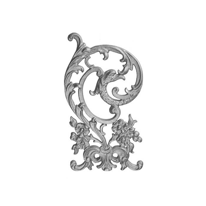 "15-1/2"" Tall Cast Iron Panel, Bird of Paradise Style, Double Faced"