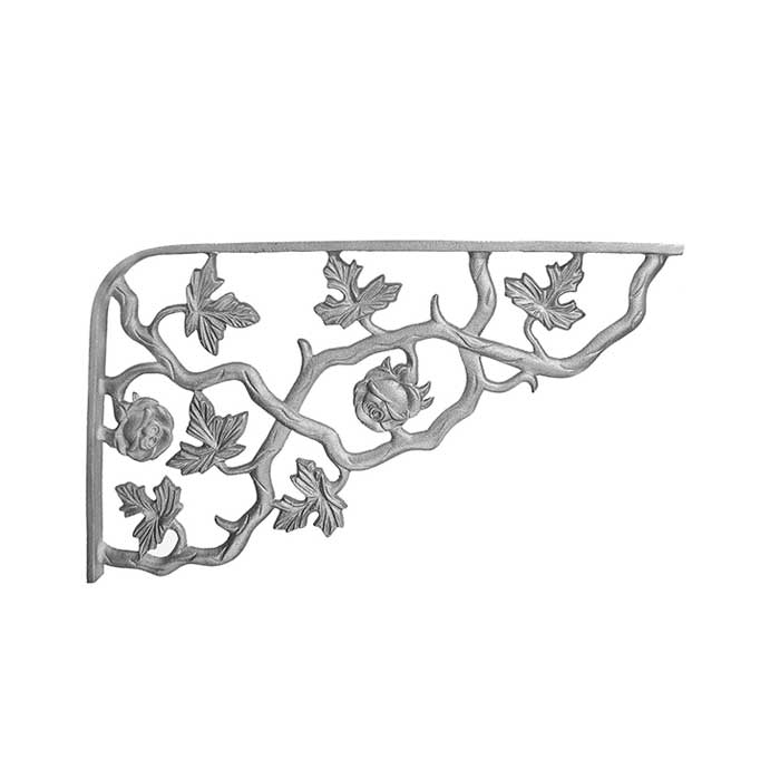 """11-3/4"""" Tall Cast Iron Corner Bracket, Rose Style, Double Faced"""