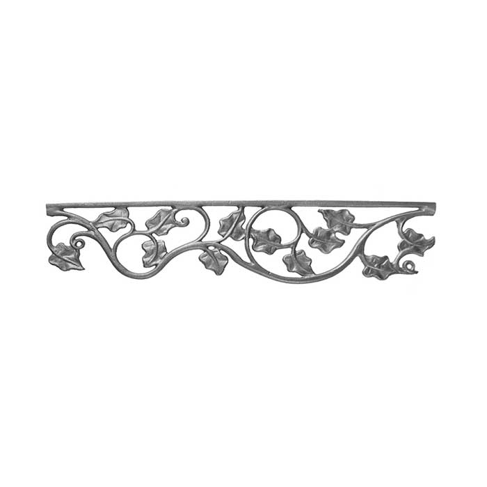"""4-3/4"""" Tall Cast Iron Valance, Ivy Leaf Style, Double Faced"""