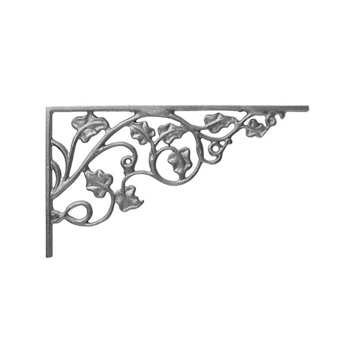 """7-1/4"""" Tall Cast Iron Corner Bracket, Ivy Leaf Style, Double Faced"""