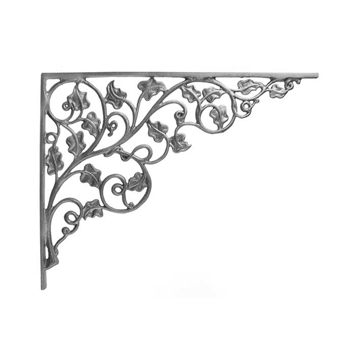 """14-1/4"""" Tall Cast Iron Corner Bracket, Ivy Leaf Style, Double Faced"""