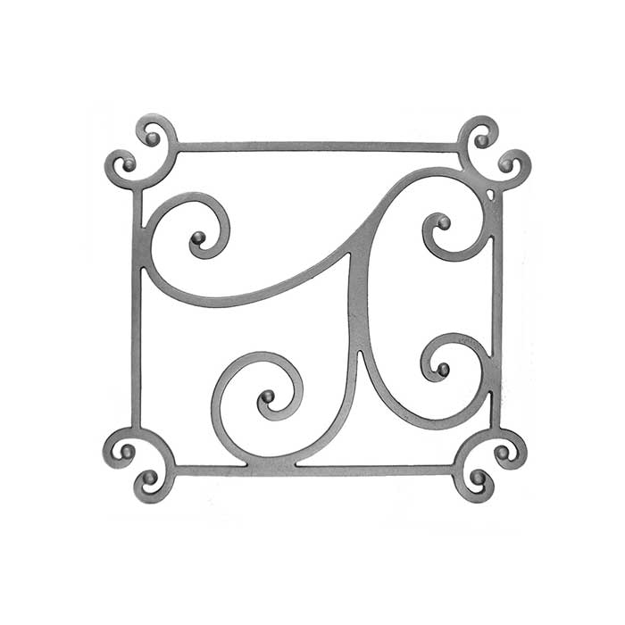 """22-1/4"""" Tall Cast Iron Panel w/Scroll Design, Double Faced"""