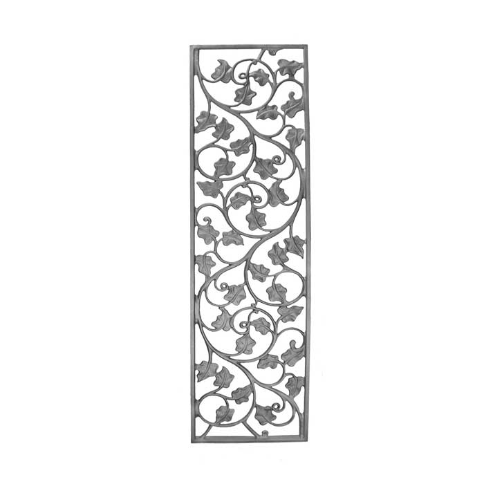 """33-1/4"""" Tall Cast Iron Panel, Ivy Leaf Style, Double Faced"""