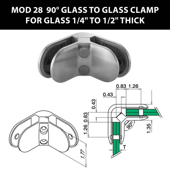 """MOD 28 90 degree Glass to Glass Clamps for 1/4"""" to 1/2"""" Thick Glass"""