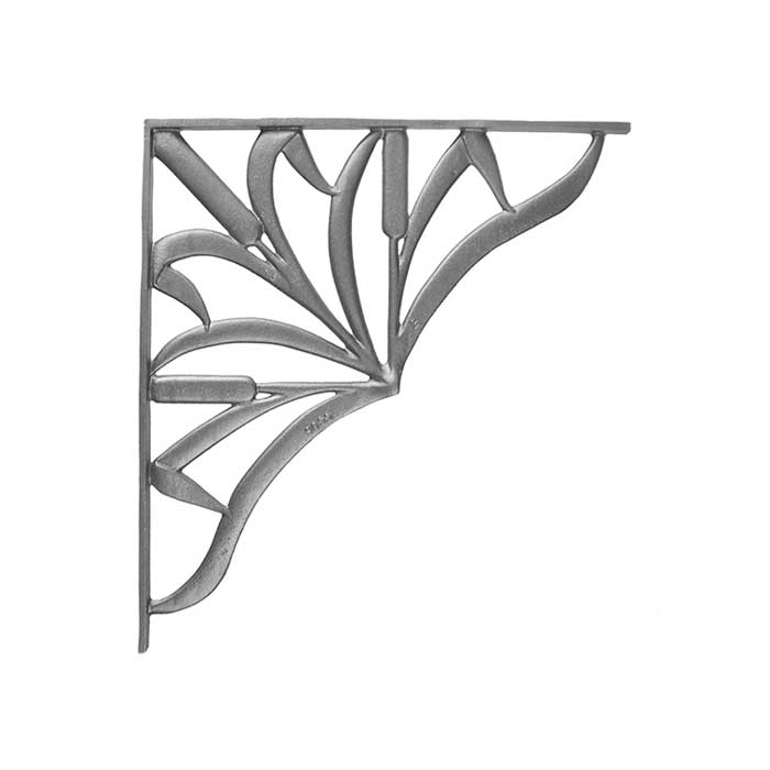 17-1/4 Tall Cast Iron Corner Bracket, Cattail Style, Double Faced