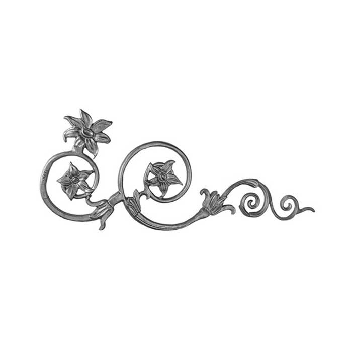 "10-1/4"" Tall Cast Iron Corner Bracket, Passion Flower Style, Double Faced"