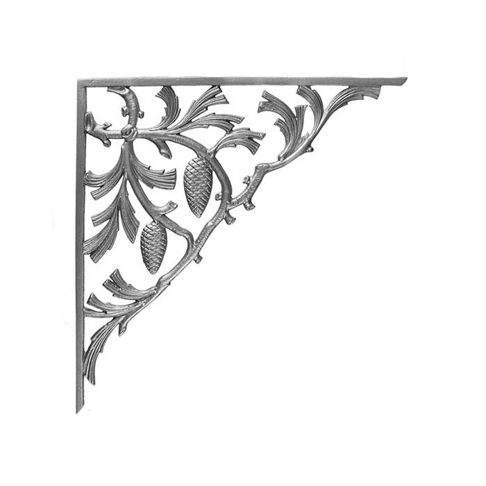"""22-1/2"""" Tall Cast Iron Corner Bracket, Pinecone Style, Double Faced"""