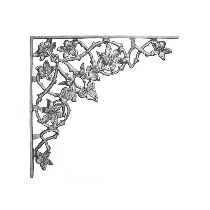 "16-1/2"" Tall Cast Iron Corner Bracket, Passion Flower Style, Side Backed Out (SBO)"
