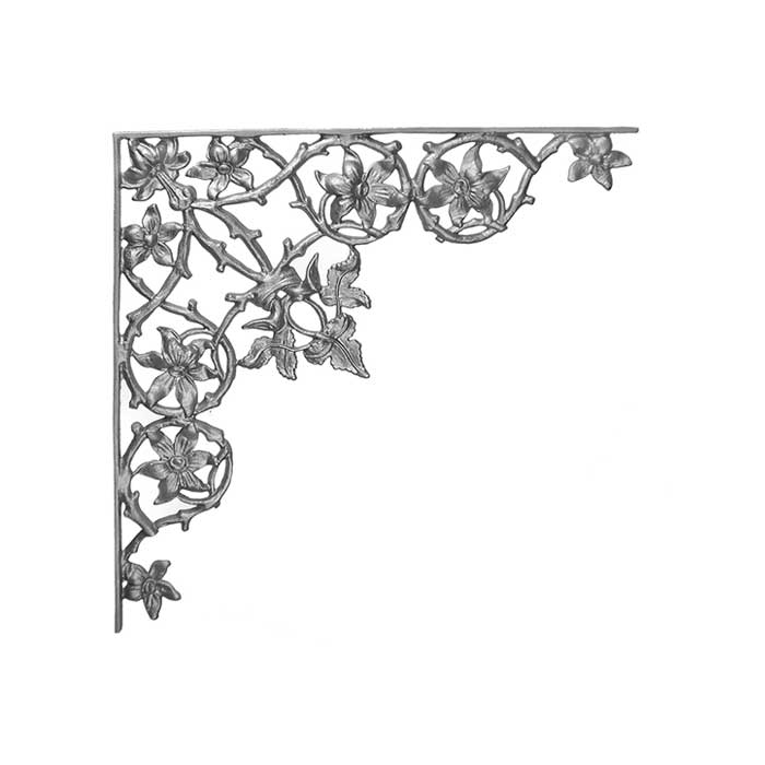 "21-1/4"" Tall Cast Iron Corner Bracket, Passion Flower Style, Side Backed Out (SBO)"