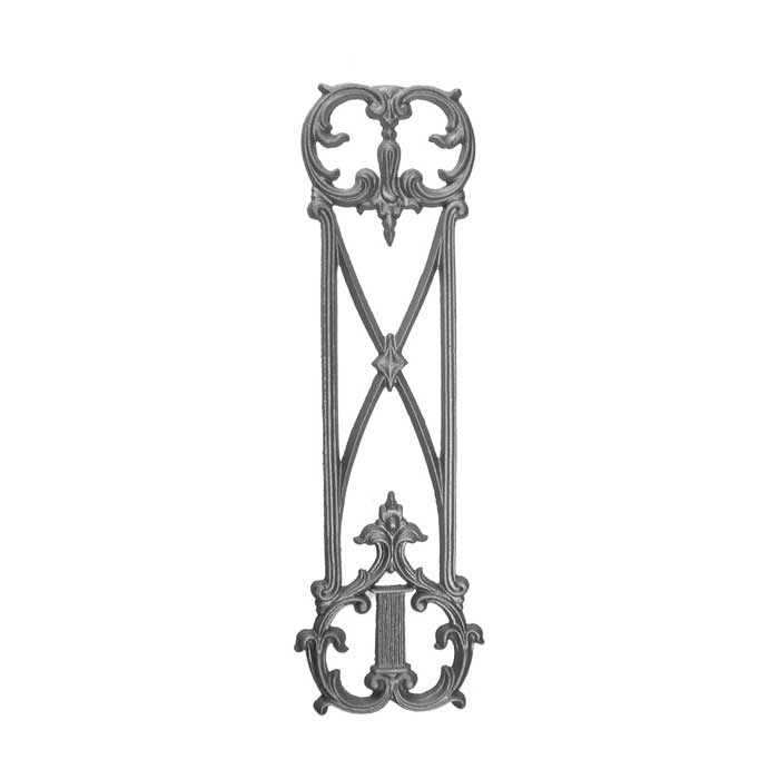 """28-3/4"""" Tall Cast Iron Continuous Railing Panel, Side Backed Out (SBO)"""