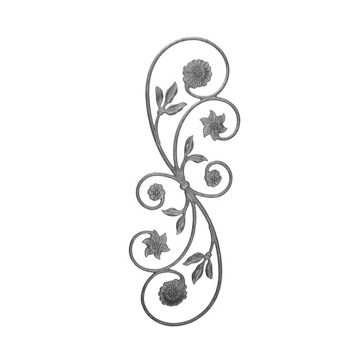"""34-1/4"""" Tall Cast Iron Scroll Panel w/Flower Ends & Leaves, Double Faced"""