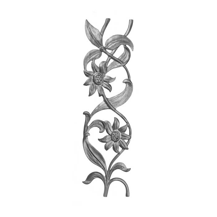 "28-1/4"" Tall Cast Iron Panel, Sunflower Style, Double Faced"