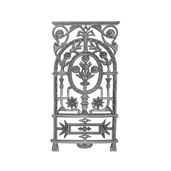 """30"""" Tall Cast Iron Panel, Floral Design, Single Faced"""