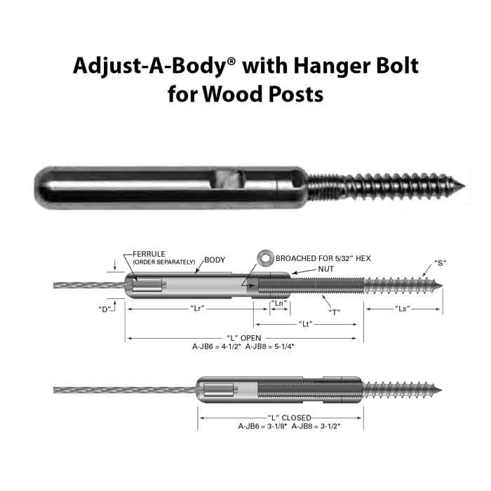 """Adjust-A-Body w/Hanger Bolt for 1/8"""" or 3/16"""" Cable, Wood Posts"""