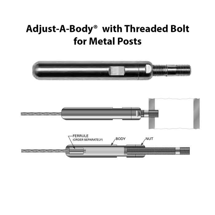 """Adjust-A-Body w/Threaded Bolt for 1/8"""" or 3/16"""" Cable, Metal Posts"""