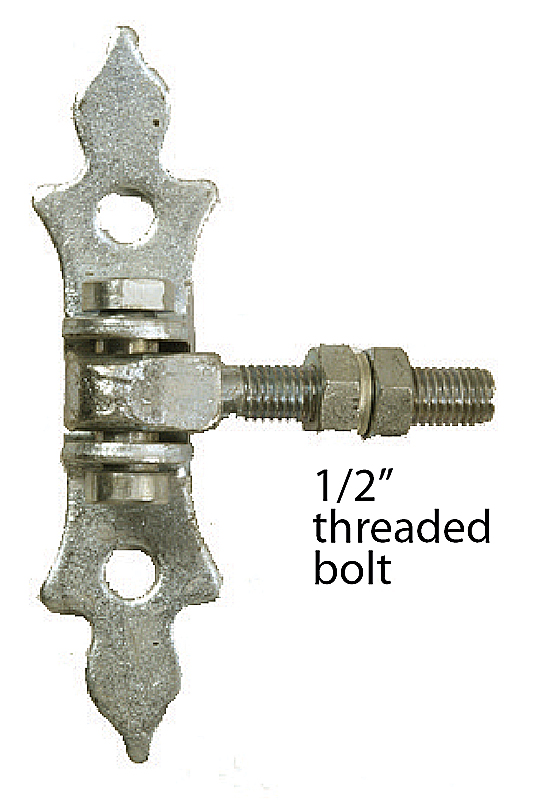 "Adjustable Steel Hinge w/ 1/2"" Threaded Bolt, Galvanized"