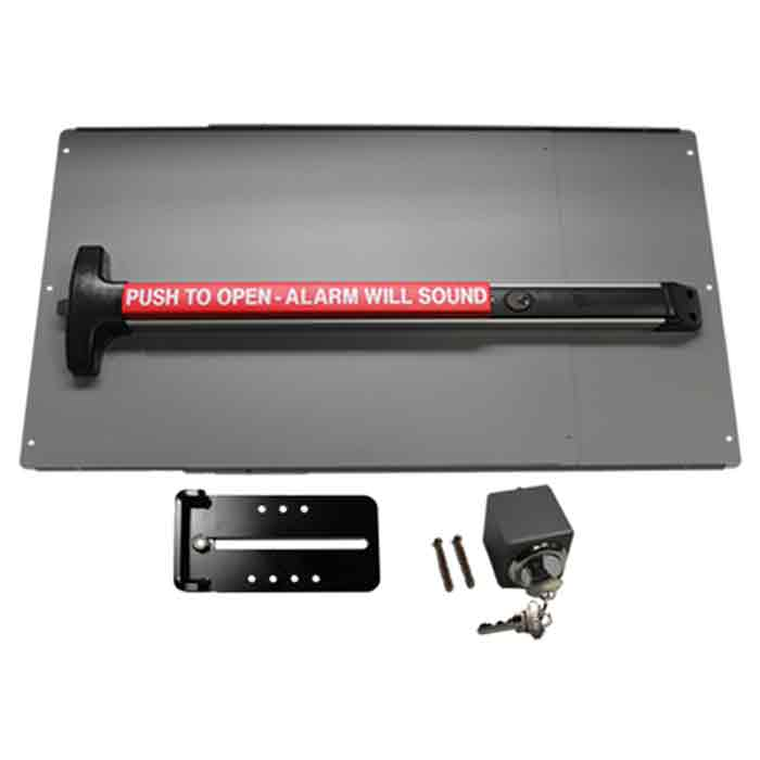 Safety Panic Bar w/Alarm and Panic Shield Kits in Black and Silver