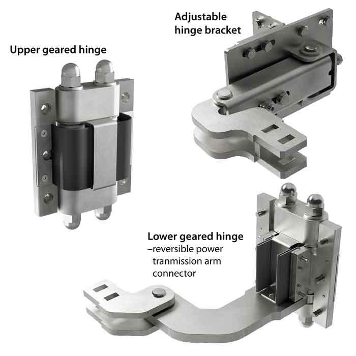 Albatros Power Transfer Kit: Includes 2 geared hinges & post bracket