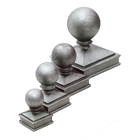 """Aluminum Ball Caps, Die Cast, with Decorative Square Base for 1"""" to 4"""" Square"""