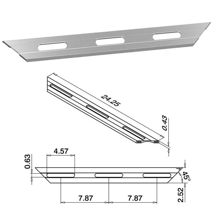 """24-1/4"""" Long Drainage Profile, Brushed Anodized Aluminum, Top Mount, Easy Glass Smart"""