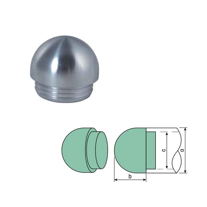 "Aluminum Drive-On Dome End Caps for 1-1/4"" and 1-1/2"" Sch. 40 Pipe"