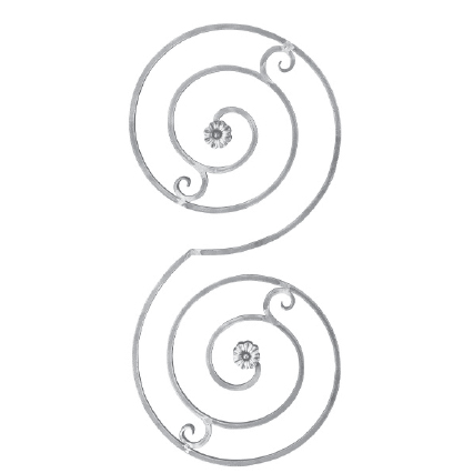 "9/16"" Sq. Aluminum Double Spiral Scroll Panel with 2 Rosettes"