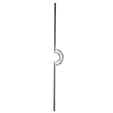 "1/2"" sq. Forged Aluminum Baluster with Crescent Center Design"