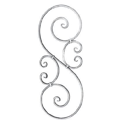 """9/16"""" dia. Forged Aluminum S-Scroll Panel with 2 C-Scrolls"""