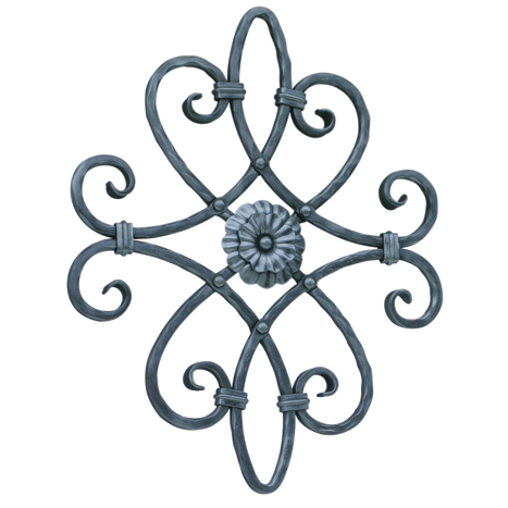 """9/16"""" sq. Forged Aluminum Scroll Panel with Floral Element on one side"""