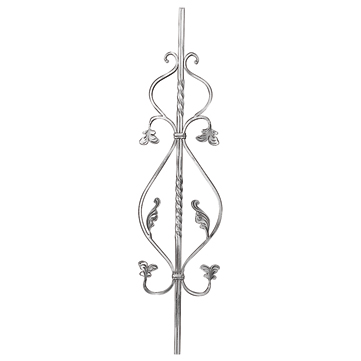"""9/16"""" sq. Forged Aluminum Scroll Panel w/Twists and Leaves"""
