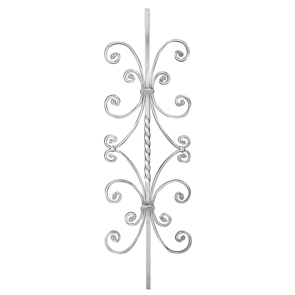 """9/16"""" sq. Forged Aluminum Panel w/Center Twist and Scrolls"""