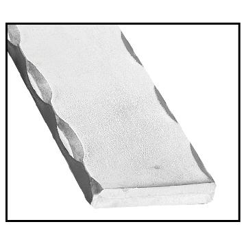 Aluminum Flat Bar with Hammered, Wavy Edges, 10' long