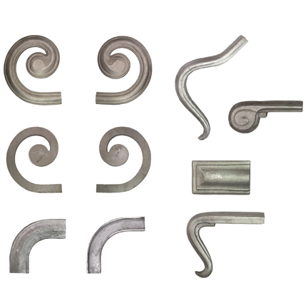 "2-1/4"" wide Aluminum Lateral Scrolls and Fittings for H1244-AL Handrail Molding"