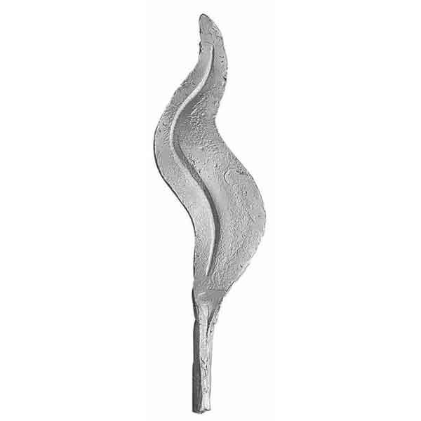 """3-1/8"""" Tall Cast Aluminum Wavy Leaf, 1/8"""" Thick x 1/2"""" dia."""