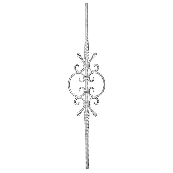 "9/16"" sq. Aluminum Baluster, w/Scroll Center, Hammered Bar w/Feather Features, 39-1/2"" Tall"
