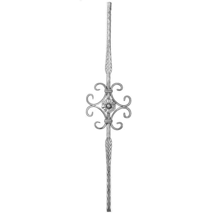 "9/16"" sq. Aluminum Baluster, w/C-Scroll & Rosette Center, Hammered Bar w/Feather Features, 39-1/2"" Tall"
