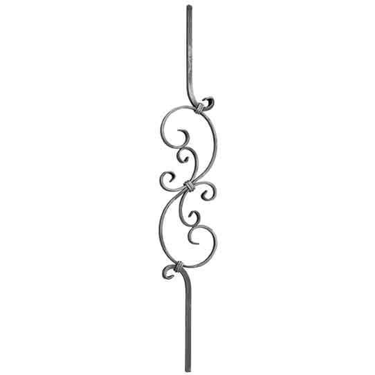 "1/2"" sq. Aluminum S-Scroll Baluster w/ 15-3/4"" Center Scroll"