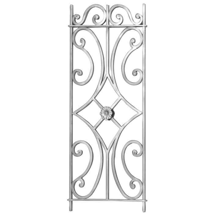 "1/2"" sq. Forged Aluminum Framed Panel w/Scrolls and Center Rosette, 39-1/2"" Tall"