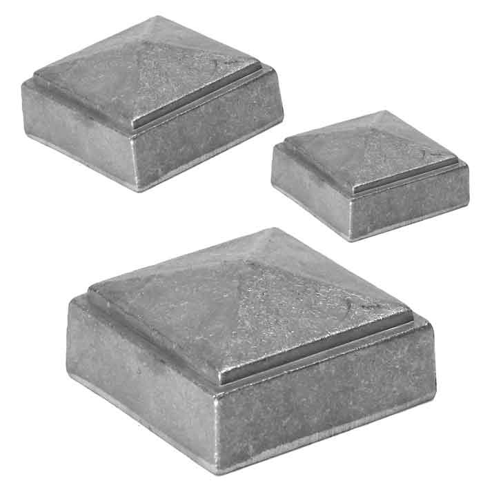 """Aluminum, Die Cast, Pyramid Post Caps, Weld-On, for 1-1/2"""" to 4"""" Square Bar"""
