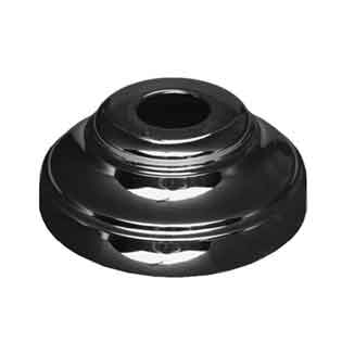 "Base Shoe for 5/8"" sq., Brass with Chrome Black Finish, 2-1/2"" dia. base"