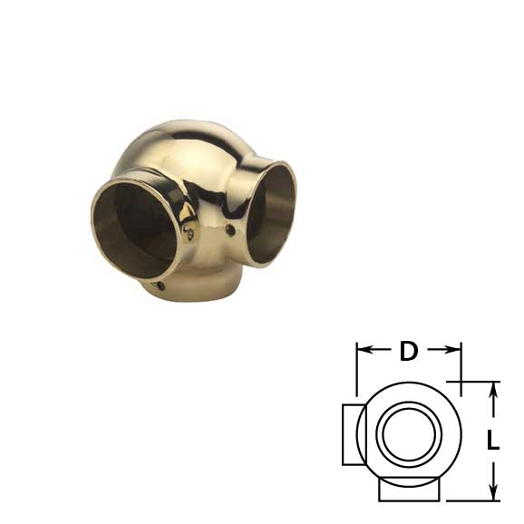 Ball Side Outlet Ell in Brass