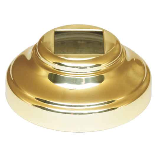 """Base Shoe for 5/8"""" sq., Gold Plated Brass, 2-1/16"""" dia. base"""