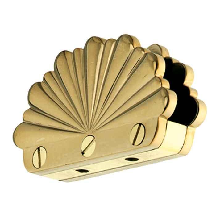 "Glass Clip for maximum 1/2"" Glass, Scalloped Design, Brass"