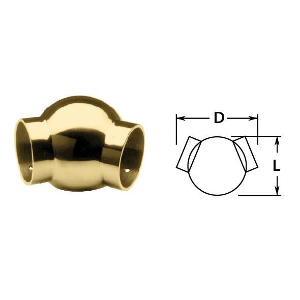 135 degree Side Outlet in Brass